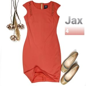Jax Orange Coral Gold Details Dress Size 4